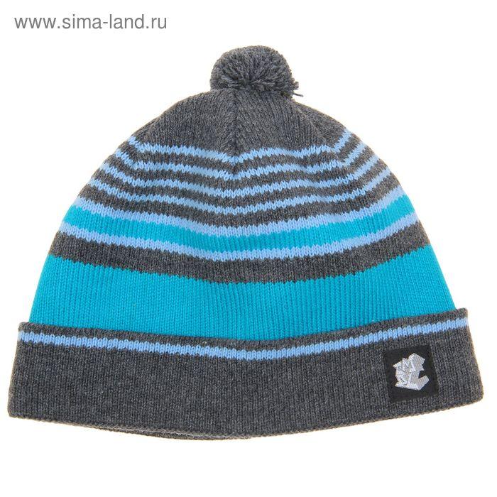 """Шапка зимняя """"ХИП-ХОП 2"""", размер 54-56, цвет серый/бирюза/голубой 230732"""