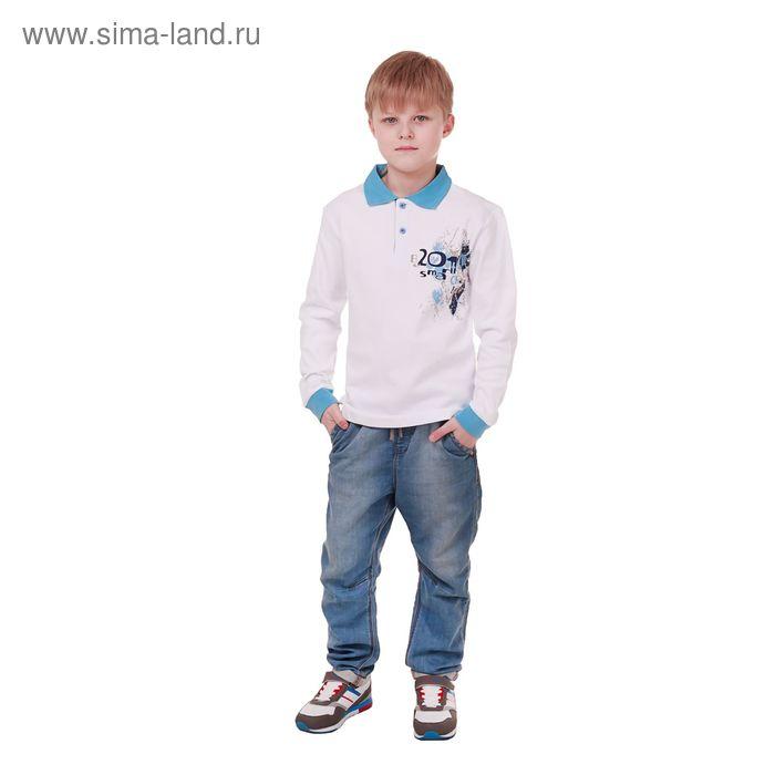 Рубашка-поло с дл.рукавом для мальчиков, рост 140 см (72), цвет белый CAJ 6087