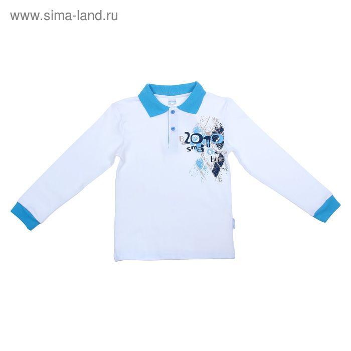 Рубашка-поло с дл.рукавом для мальчиков, рост 128 см (64), цвет белый CAJ 6087