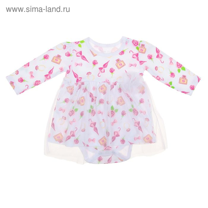 Платье-боди для девочки, рост 86 см (48), цвет белый ZBG 13251-W0 FA