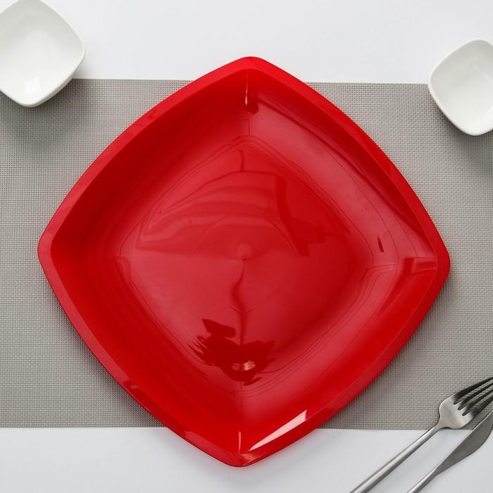 """Набор тарелок плоских """"Квадратные"""", цвет салатовый, 3 шт"""