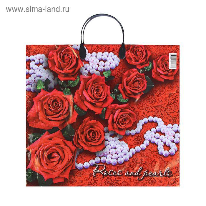 """Пакет """"Розы и жемчуг"""", полиэтиленовый с пластиковой ручкой, 38х35 см, 110 мкм"""