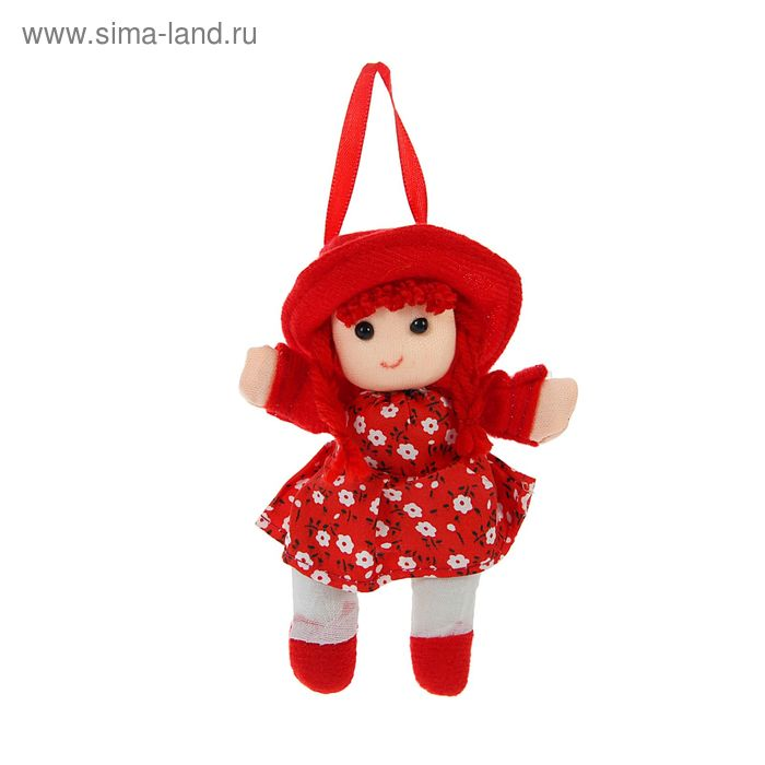 "Мягкая игрушка-брелок ""Кукла Девочка"" с косичками в шляпке, цвета МИКС"