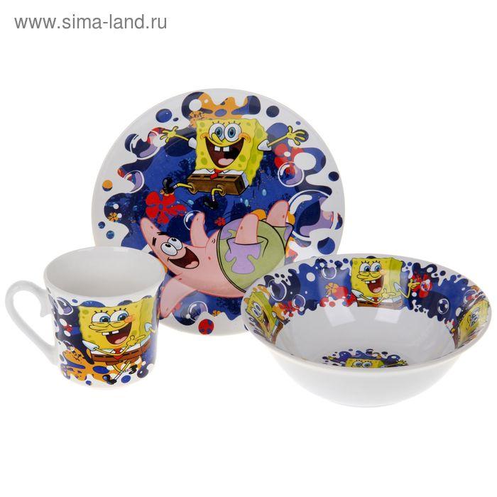 """Набор детской посуды """"Губка Боб. Океан счастья"""", 3 предмета: кружка 220 мл, миска 18 см, тарелка 19 см, в подарочной упаковке"""