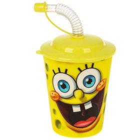 Бокал 400 мл 'Губка Боб', с крышкой и трубочкой, цвет желтый 3D Ош