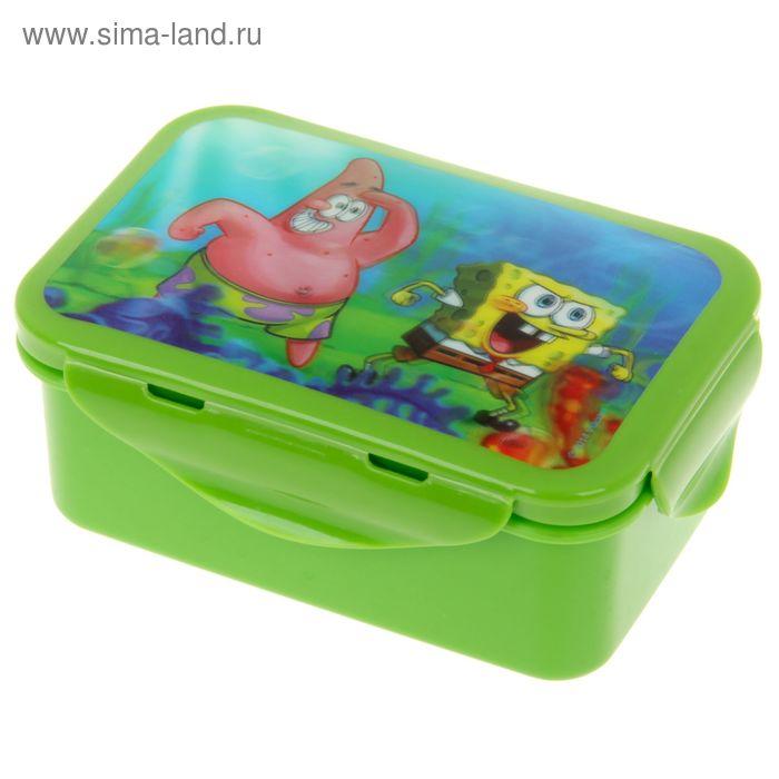"""Контейнер пищевой 16х10 см с зажимами """"Губка Боб"""", цвет зеленый 3D"""