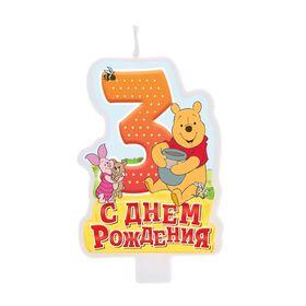 """Свеча в торт """"С днем рождения"""", цифра 3, Медвежонок Винни"""