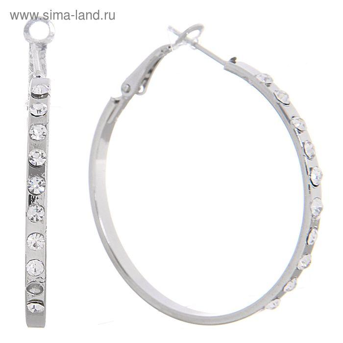 """Серьги-кольца """"Блеск"""" со стразами, цвет белый в серебре 4 см"""