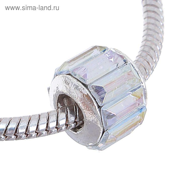 """Бусинка """"Грани"""", цвет радужный в серебре"""