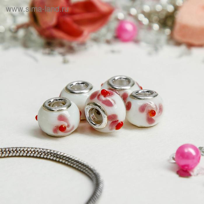 Бусинка, цвет белый с красно-розовым завитком