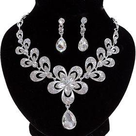 Набор 2 предмета: серьги, колье 'Шальная императрица' цветок, цвет белый в серебре Ош