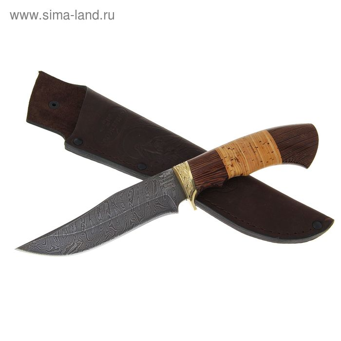 "Нож ""Акула"" (8601)д, рукоять-дерево, дамаская сталь"
