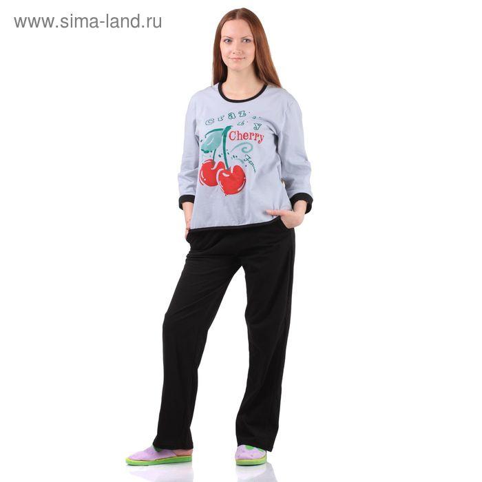 Комплект женский (кофта, брюки) Вишня серый р-р 52