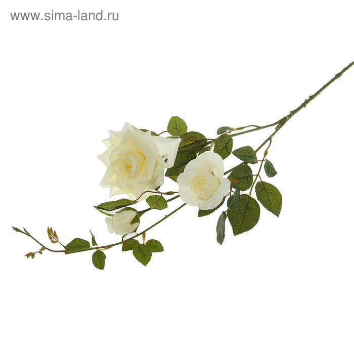 """Цветы искусственные """"Кустовая роза"""" белая"""