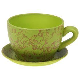 """Кашпо-чашка """"Чайная пара"""" зелёное 0,8 л"""