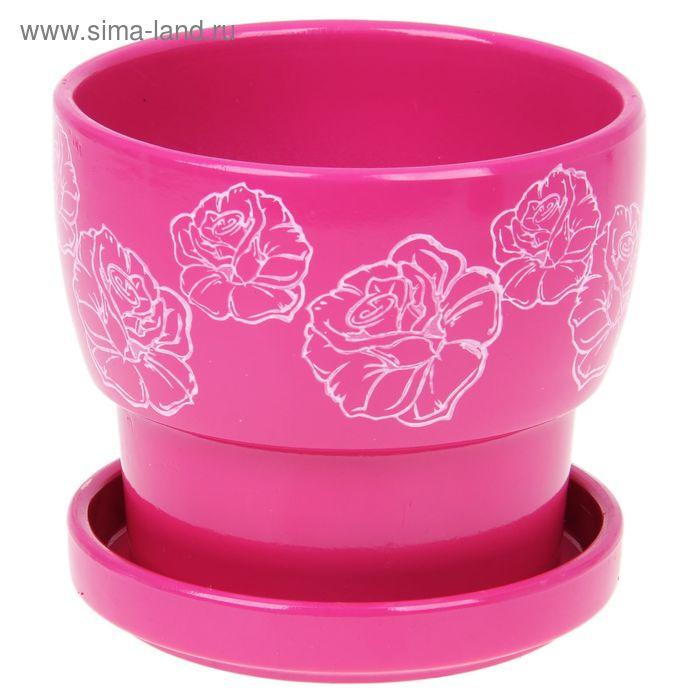 """Кашпо """"Белые розы"""" розовое 0,72 л"""