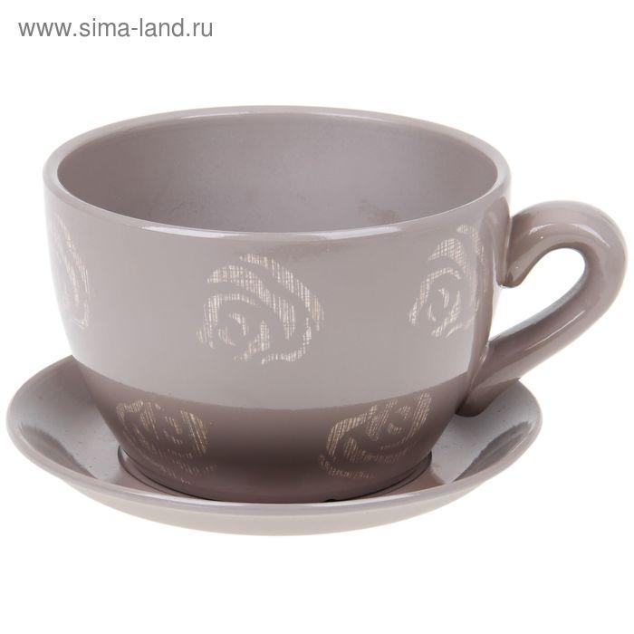 """Кашпо-чашка """"Чайная роза"""" кофе с молоком 0,8 л"""