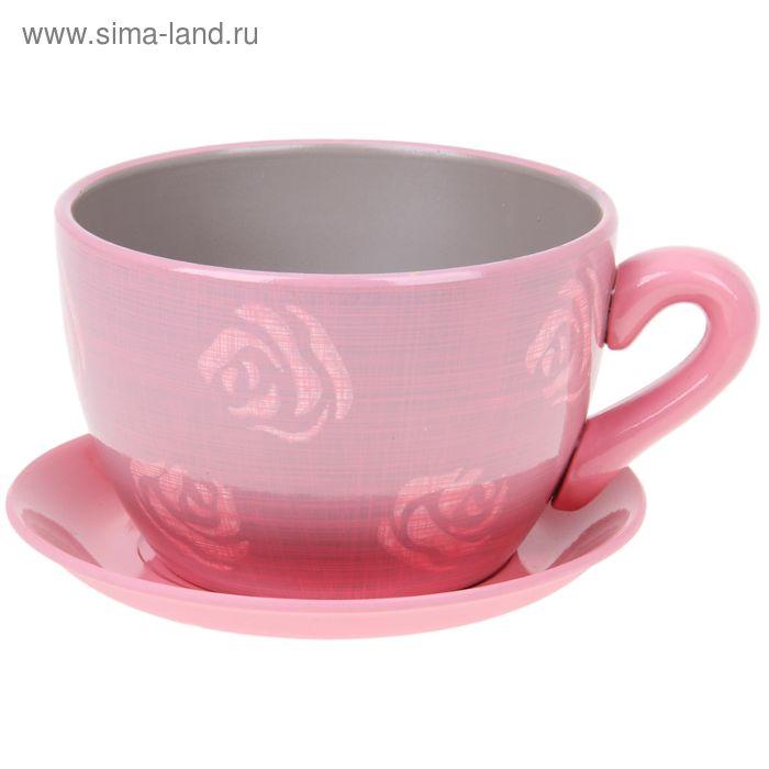 "Кашпо-чашка ""Чайная роза"" розовое 0,8 л"
