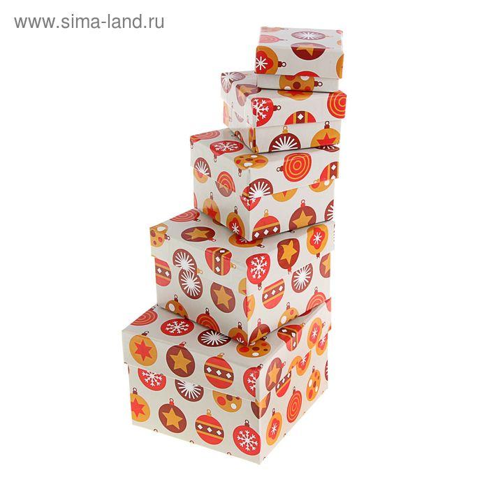 """Набор коробок 5 в 1 """"Елочные шары коричневые"""""""