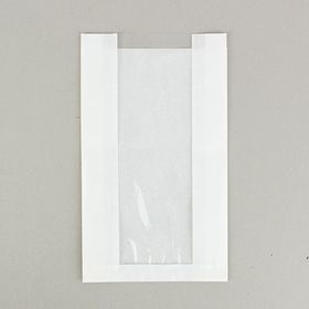 Пакет бумажный фасовочный, белый, с окном, V-образное дно 20(10) х 6 х 34 см Ош