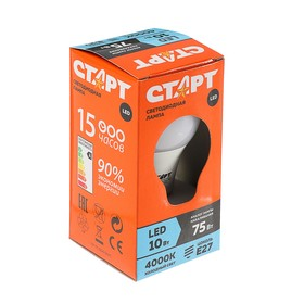 """Лампа светодиодная """"Старт"""", E27, 10 Вт, 4000 К, холодный свет"""