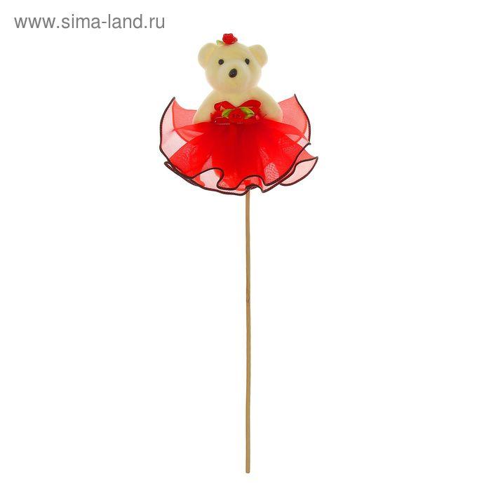 """Декор-украшение для букетов """"Мишка в юбке"""", цвет красный"""