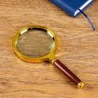 Лупа золото с коричневой ручкой 6х d=80мм пластик