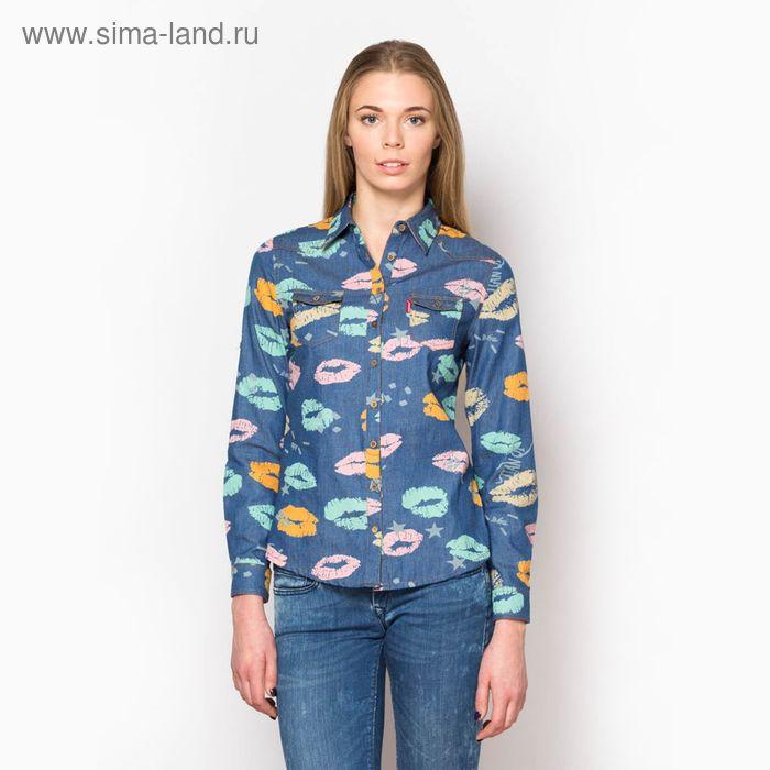 Блузка женская с длинным рукавом, размер 50, цвет джинс (арт. 15117 С+)
