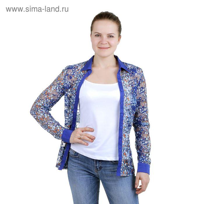 Блузка женская с длинным рукавом (905-13288L), размер 50, цвет синий