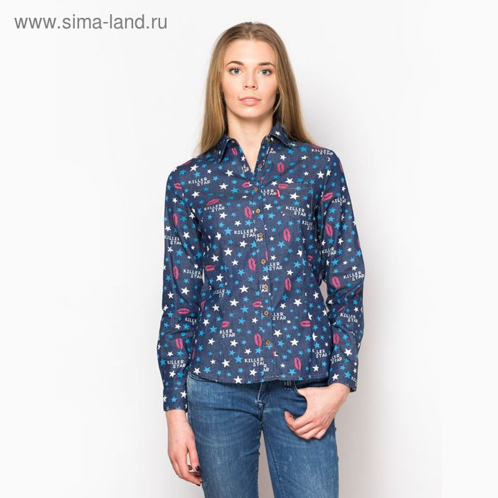 Блузка женская с длинным рукавом (15116), размер 44, цвет джинс