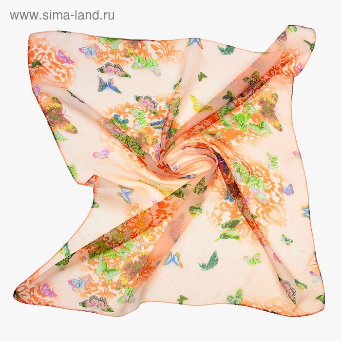 "Платок женский ""Бабочки"", размер 70х70 см, цвет оранжевый"