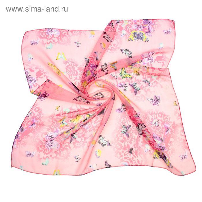 """Платок женский """"Бабочки"""", размер 70х70 см, цвет розовый"""