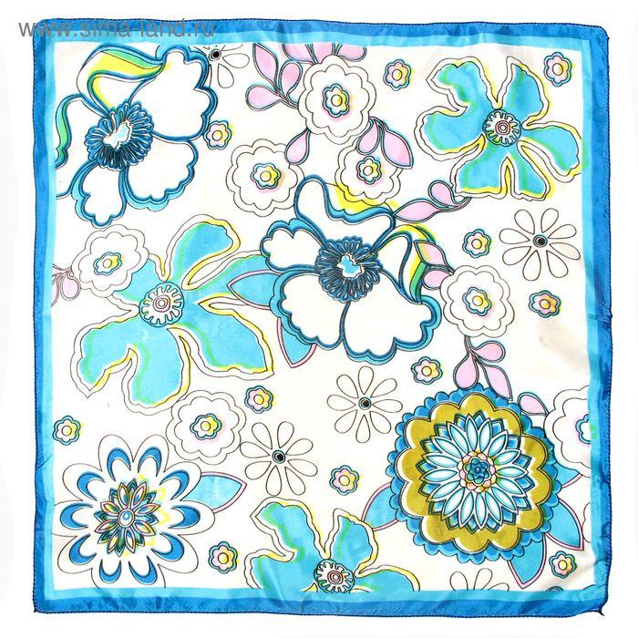 Платок женский Веселые цветочки голубой 50х50 см