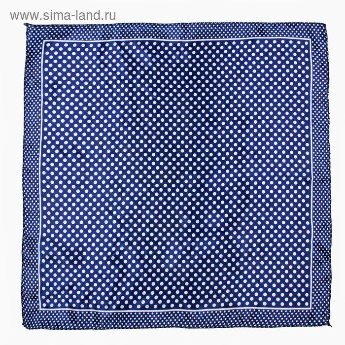 Платок женский Горошек синий 50х50 см