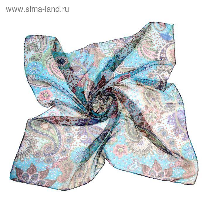 """Платок женский """"Восток"""", размер 90х90 см, цвет бирюзовый"""