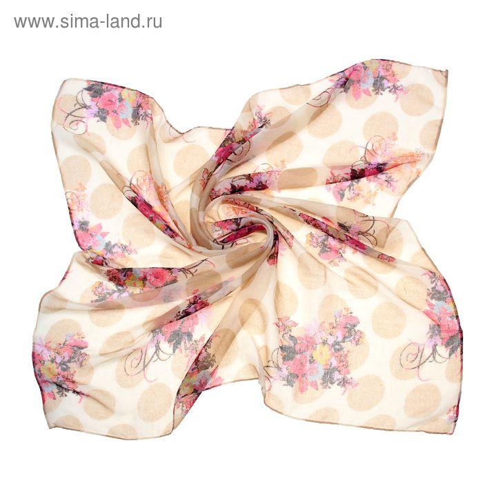 """Платок женский """"Лаванда"""", размер 90х90 см, цвет бежевый"""