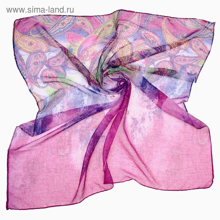 """Платок женский """"Восточные узоры"""", размер 90х90 см, цвет фиолетовый"""