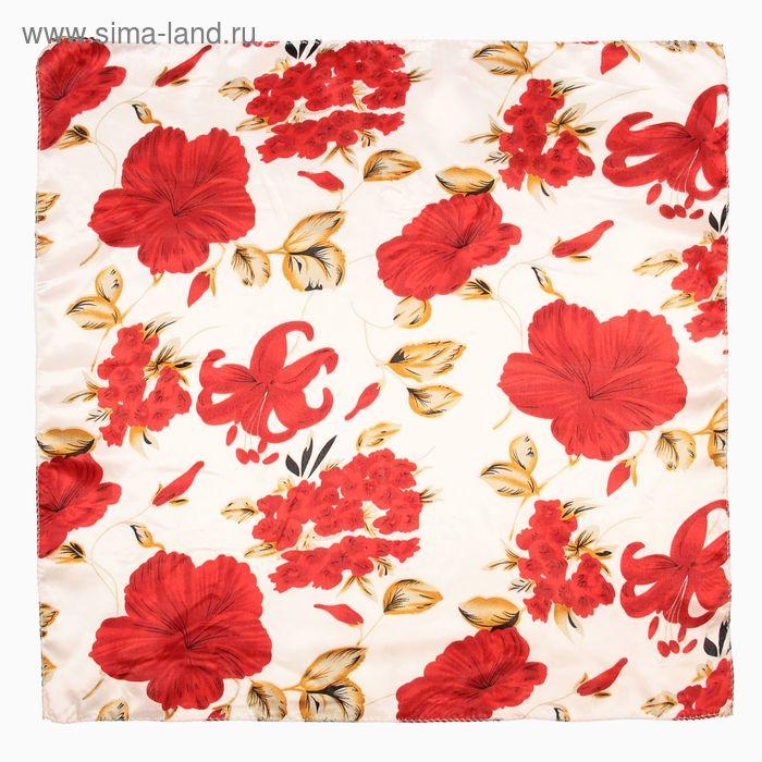Платок женский Ирис красный 50х50 см