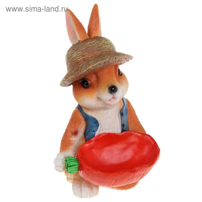 """Садовая фигура """"Заяц в шляпе"""" с овощем"""