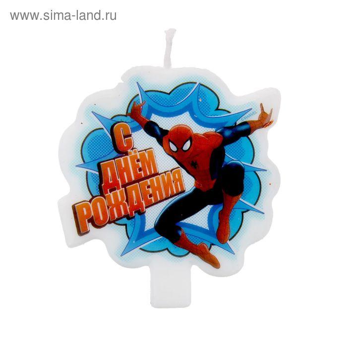 """Свеча в торт """"С днем рождения"""", Человек-Паук"""