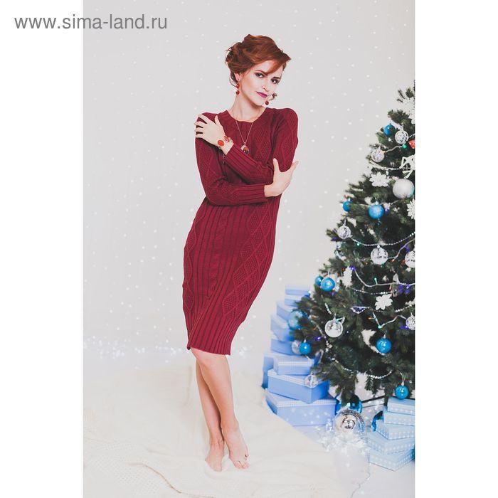 Платье женское вязаное 2102 жухлый красный, р-р 42