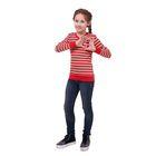 Джемпер для девочки, рост 158-164 см (80), красный/серая полоска Р827592