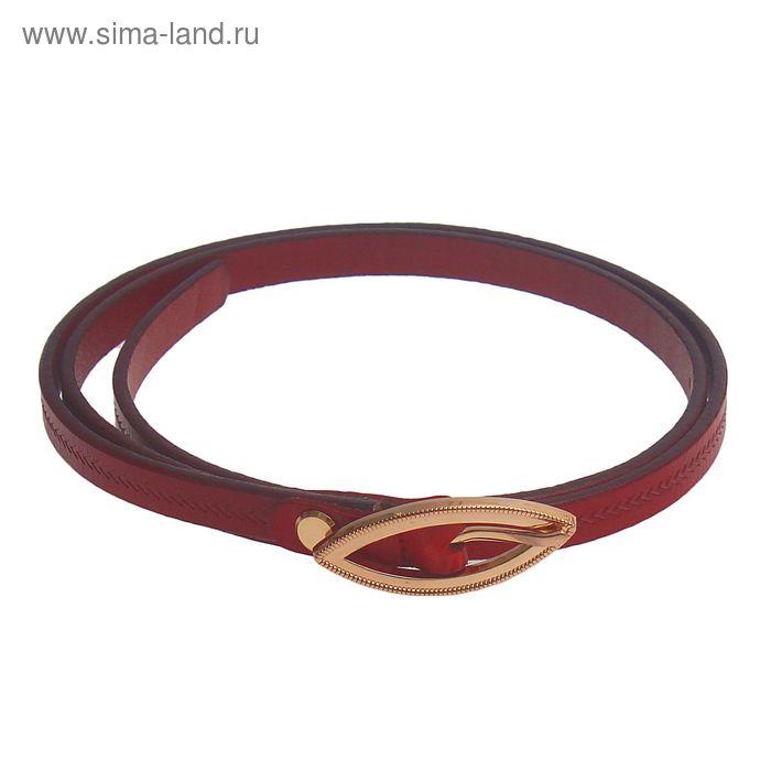 Ремень женский, винт и пряжка под золото, ширина - 1см, красный