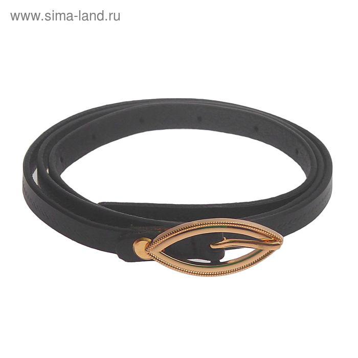 Ремень женский, винт и пряжка под золото, ширина - 1см, чёрный