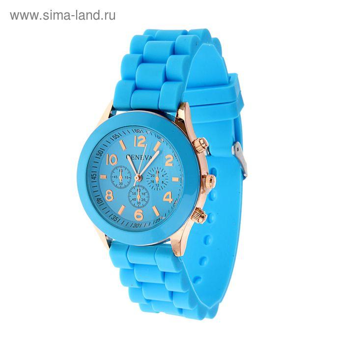 Часы наручные женские Женева 4 циферблата силиконовый ремешок  голубой