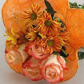 """Каркас для букета """"Ромашка"""" 25 см, сизаль (гладкий), оранжевый"""