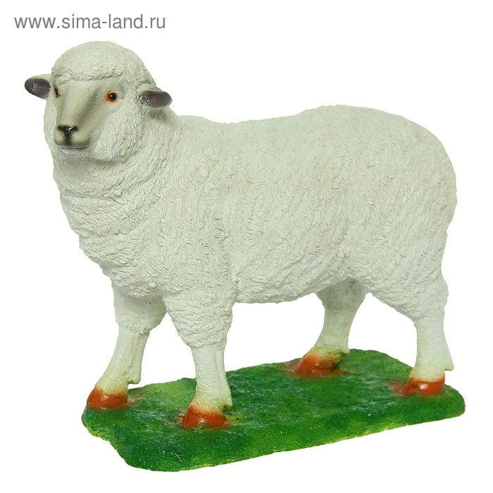 """Садовая фигура """"Овечка на траве"""" средняя"""
