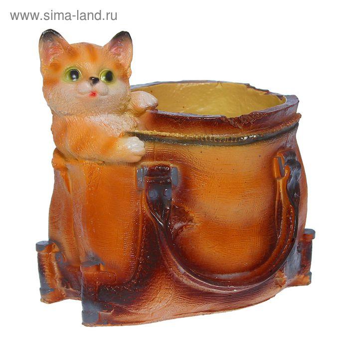 """Фигурное кашпо """"Котёнок в сумке"""""""
