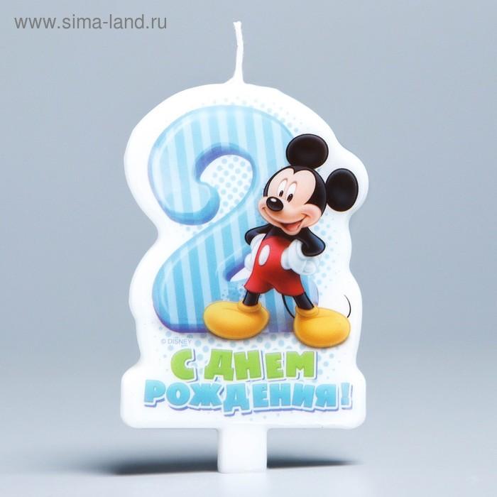 """Свеча в торт """"С днем рождения"""", цифра 2, Микки Маус"""