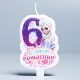 """Свеча в торт """"С днем рождения"""", цифра 6, Холодное сердце"""